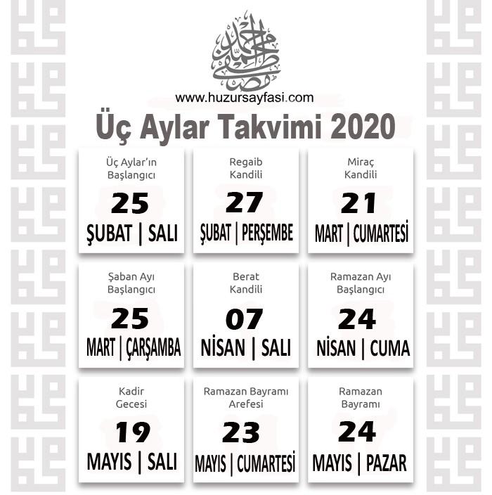 2020 Üç Aylar Takvimi