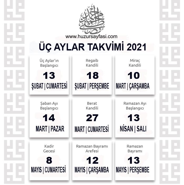 2021 yılı üç aylar ne zaman başlıyor | Huzur Sayfası .:. İslami bilgi  kaynağınız